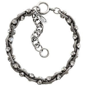 "Catherine Popesco Sterling Silver Plated Studded Crystal Round Bracelet, 7.25"" 1641 Clear"