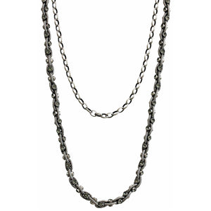 "Catherine Popesco Sterling Silver Plated Studded Double Chain Swarovski Crystal Necklace, 18"" 1199 Gray"