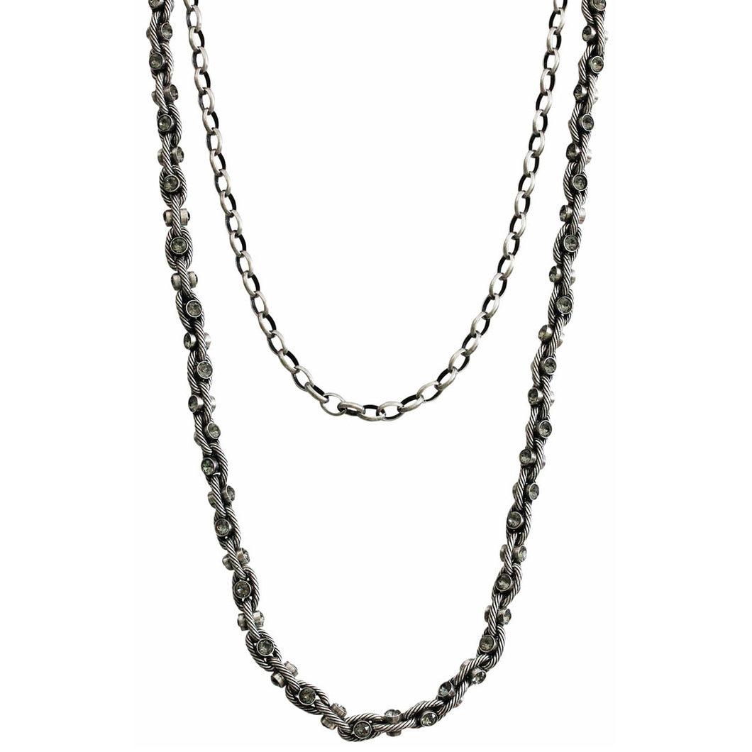 Catherine Popesco Sterling Silver Plated Studded Double Chain Swarovski Crystal Necklace, 18