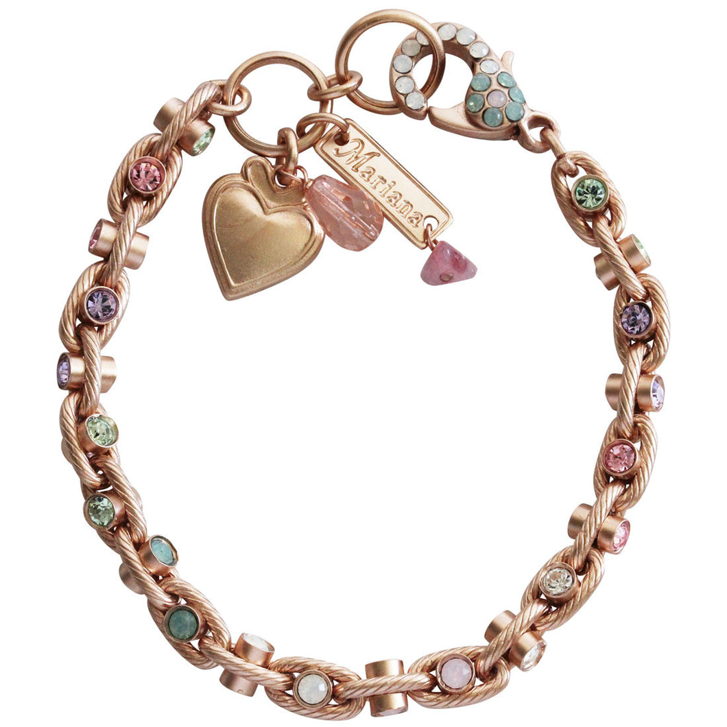 Mariana Rose Gold Plated Studded Swarovski Crystal Bracelet, 7.5