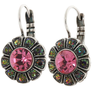 Mariana Silver Plated Sunflower Swarovski Crystal Earrings, Green Pink Vitrail 1131 2229