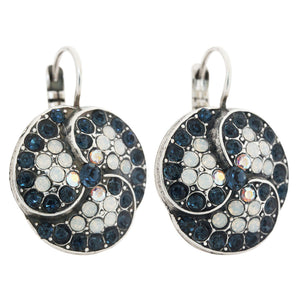 "Mariana ""Mood Indigo"" Silver Plated Swirl Mosaic Large Statement Swarovski Crystal Earrings, 1048/1 1069"