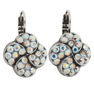 "Mariana ""On A Clear Day"" Silver Plated Swirl Clover Swarovski Crystal Earrings, 1319/1 001AB"