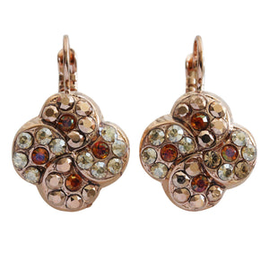 "Mariana ""Caramel"" Rose Gold Plated Swirl Clover Mosaic Swarovski Crystal Earrings, 1319/1 137rg"