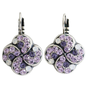 "Mariana ""Purple Rain"" Silver Plated Swirl Clover Swarovski Crystal Earrings, 1319/1 1062"