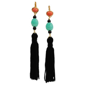 Kenneth Jay Lane Black Tassel Simulated Coral Jade Resin Pierced Earrings 8821ECJBP