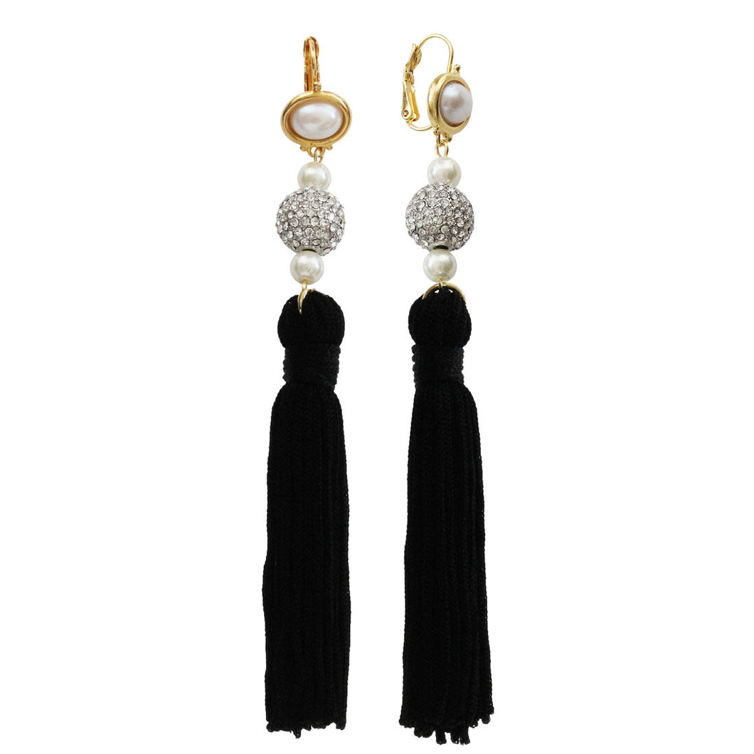 Kenneth Jay Lane Black Tassel Faux Glass Pearls Crystal Rhinestone Pierced Earrings 8821EPP