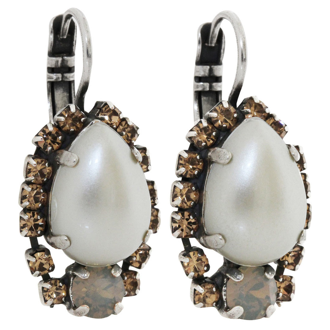 Mariana Silver Plated Teardrop Surrounding Crystal Earrings, Champagne and Caviar 1259/1 3911