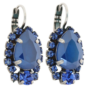 "Mariana ""Blue Royale"" Silver Plated Teardrop Surrounding Crystal Earrings, 1259/1 206"