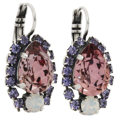 Mariana Silver Plated Teardrop Surrounding Crystal Earrings, Purple Rain 1259/1 1062