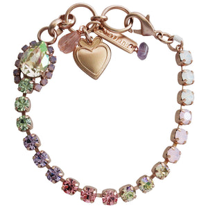 "Mariana Rose Gold Plated Teardrop Tennis Swarovski Crystal Bracelet, 7"" Pina Colada 4259/1 1063mr"