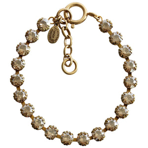 "Catherine Popesco 14k Gold Plated Crystal Tennis Bracelet, 7.5"" 1694G Champagne"