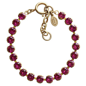"Catherine Popesco 14k Gold Plated Crystal Tennis Bracelet, 7.5"" 1694G Fuchsia"