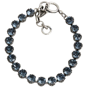 "Catherine Popesco Sterling Silver Plated Crystal Tennis Bracelet, 7.5"" 1694 Midnight"
