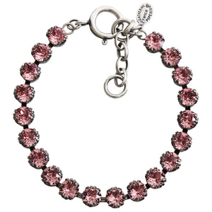 "Catherine Popesco Sterling Silver Plated Crystal Tennis Bracelet, 7.5"" 1694 Lt. Rose"