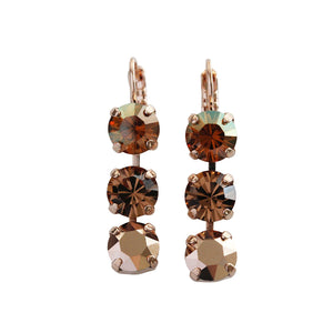 "Mariana ""Caramel"" Rose Gold Plated Triple Dangle Drop Crystal Swarovski Earrings, 1440/1 137rg"