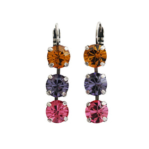 "Mariana ""Flower Power"" Silver Plated Triple Dangle Drop Crystal Swarovski Earrings, 1440/1 803"