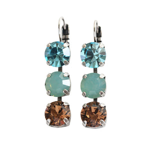 "Mariana ""Forget Me Not"" Silver Plated Triple Dangle Drop Crystal Swarovski Earrings, 1440/1 1329"