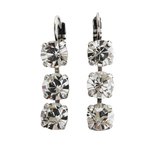 "Mariana ""On A Clear Day"" Silver Plated Triple Dangle Drop Crystal Swarovski Earrings, 1440/1 001001"
