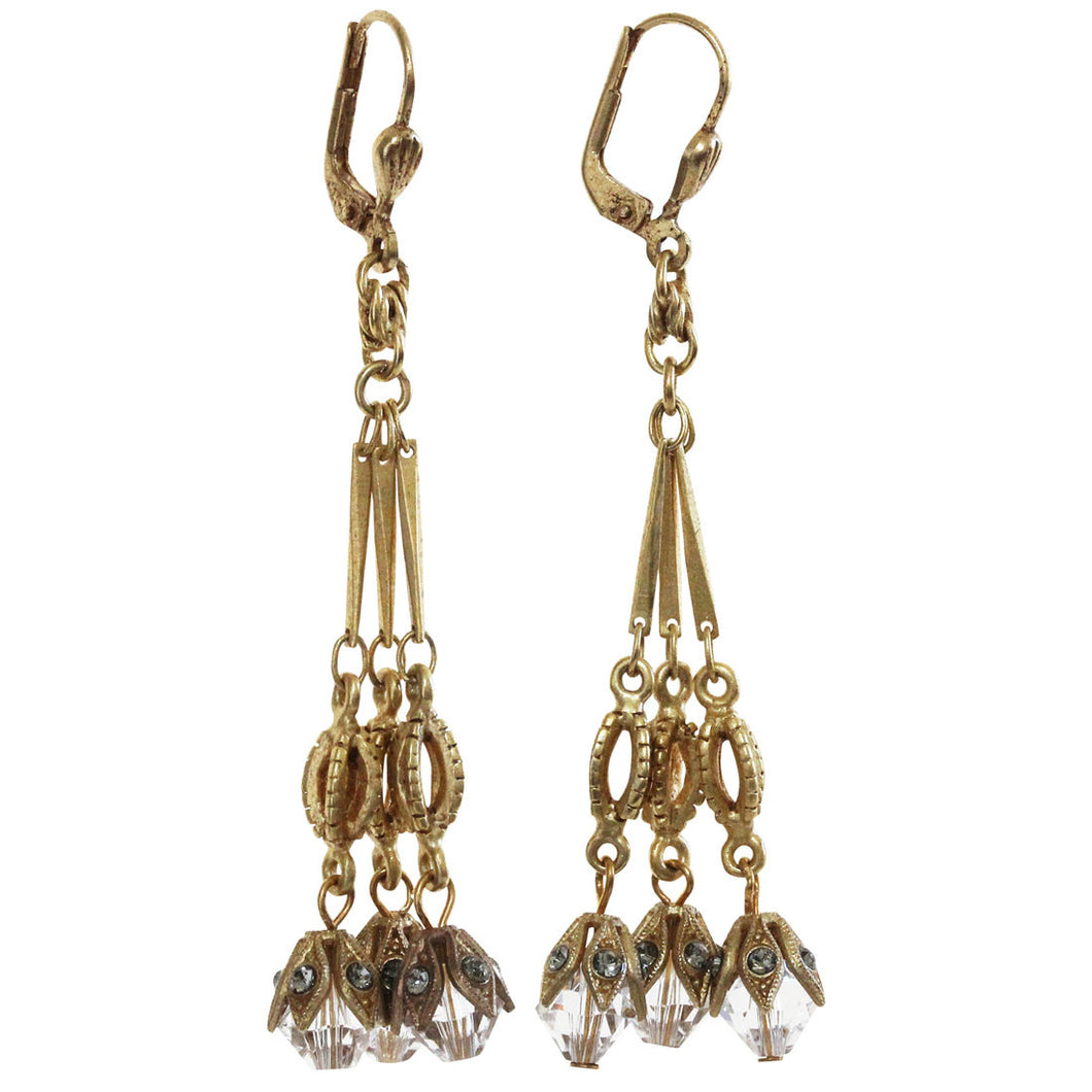 Catherine Popesco 14k Gold Plated Triple Dangle Swarovski Crystal Earrings, 9336G Clear Grey