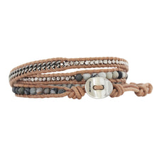 Chan Luu Matte Picasso Jasper Mix Base Metal Sterling Silver Triple Wrap Bracelet on Beige Leather BSM-1701