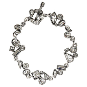 "Patricia Locke Wedding March Sterling Silver Plated Mosaic Shapes Art Bracelet, 7 1/4"" All Crystal BR0284S"