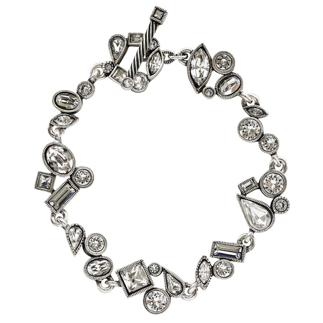 Patricia Locke Wedding March Sterling Silver Plated Mosaic Shapes Art Bracelet, 7 1/4