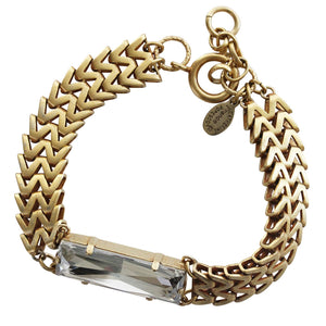 Catherine Popesco 14k Gold Plated Zigzig Rectangle Statement Swarovski Crystal Chain Bracelet, 1795G Shade
