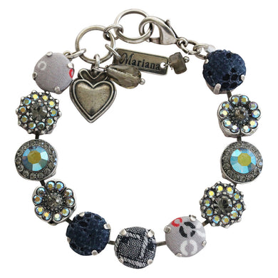 Mariana Martini Fabric Silver Plated Large Floral Mosaic Swarovski Crystal Bracelet, 7