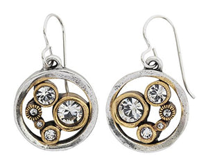 Patricia Locke Go Karts Silver Plated Round Swarovski Mosaic Art Earrings, EF1076S All Crystal