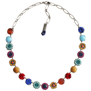"Mariana ""Fantasy"" Silver Plated Large Flower Shapes Swarovski Crystal 18"" Necklace, 3084 1037"