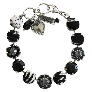 "Mariana Checkmate Fabric Silver Plated Floral Mosaic Swarovski Crystal Bracelet, 7"" 4174 7280-1"