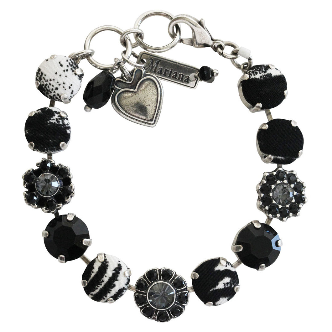 Mariana Checkmate Fabric Silver Plated Floral Mosaic Swarovski Crystal Bracelet, 7