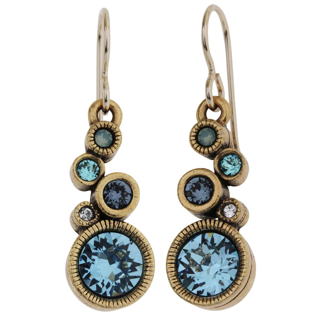Patricia Locke Encore Gold Plated Swarovski Crystal Blue Earrings, Zephyr EF0988G