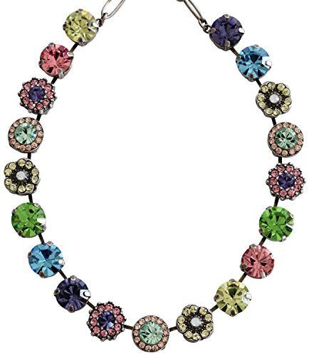 Mariana Silvertone Large Flower Shapes Crystal Necklace,