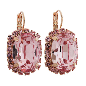 "Mariana ""Antigua"" Rose Gold Plated Large Oval Statement Swarovski Crystal Earrings, Pink Rose 1090/1 223rg"