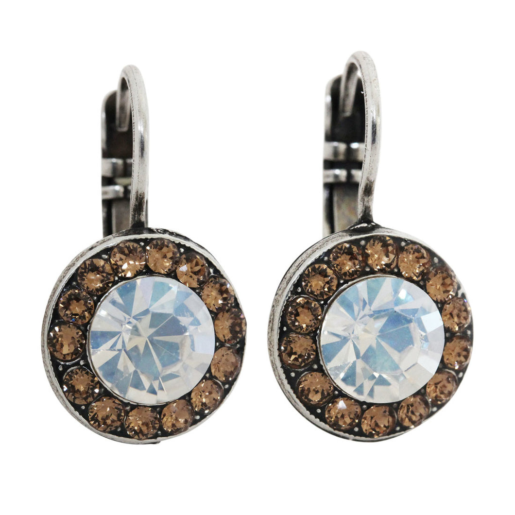 Mariana Champagne and Caviar Silver Plated Round Disc Small Crystal Earrings, 1129 3911