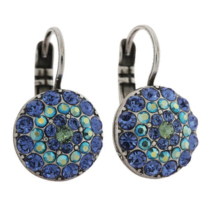 Mariana Silver Plated Moondust Round Swarovski Crystal Earrings, Capri Blue 1141 17