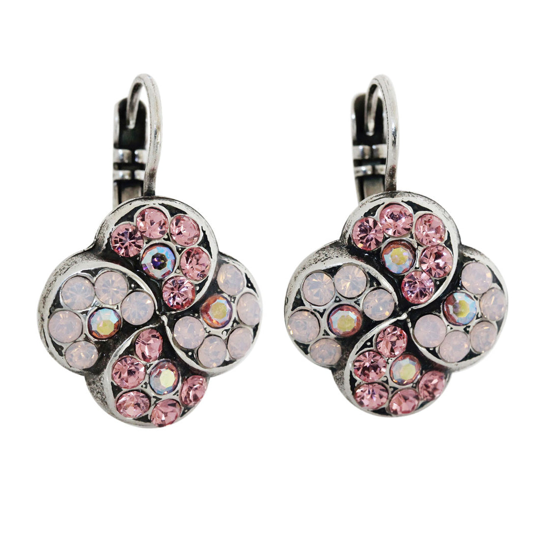 Mariana Pink Rose AB Silver Plated Swirl Clover Mosaic Swarovski Crystal Earrings, 1319/1 223-1
