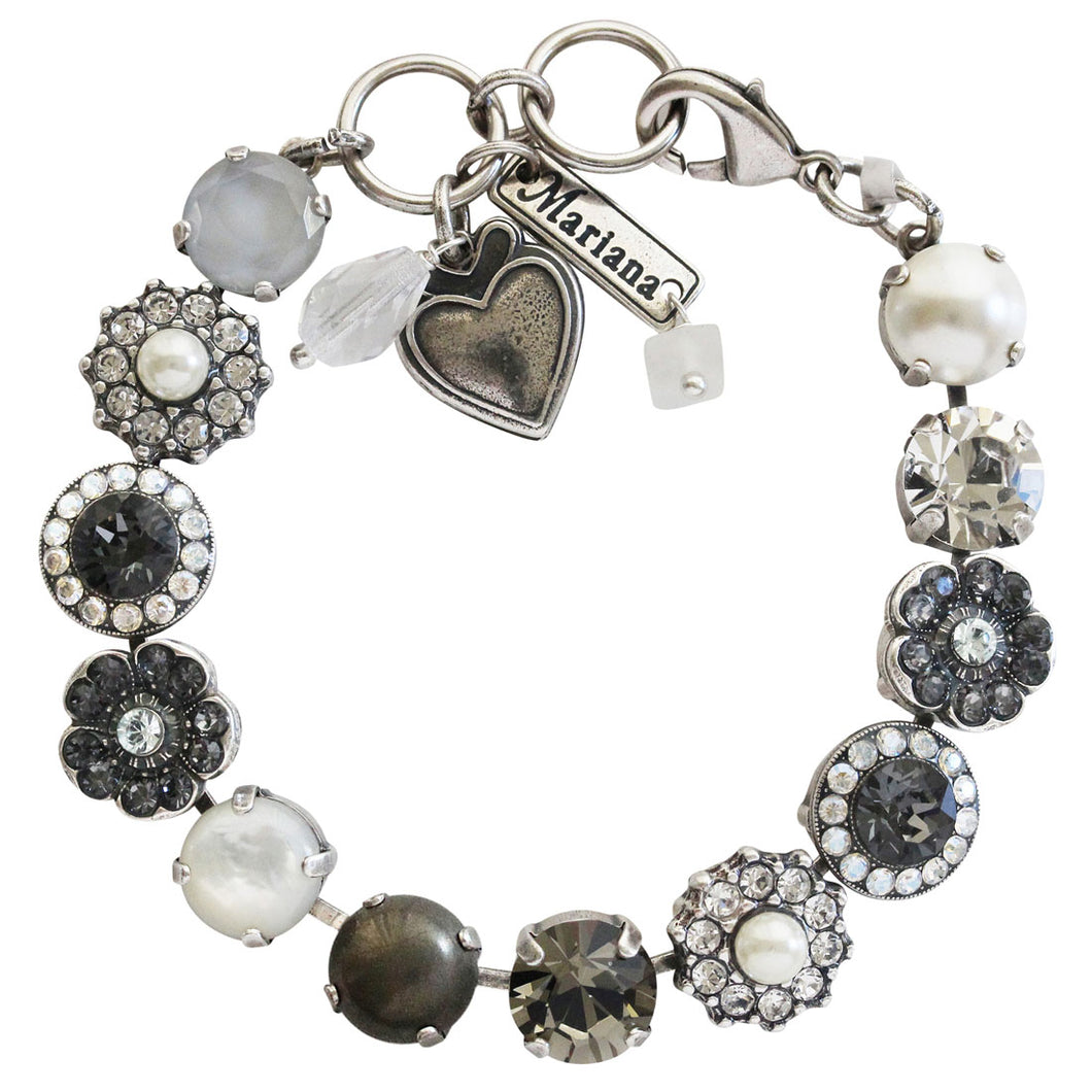 Mariana Silver Plated Large Flower Shapes Swarovski Crystal Bracelet, 7