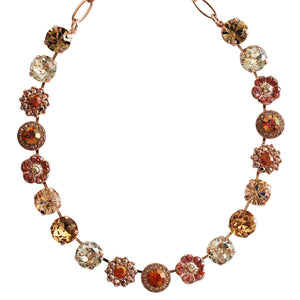 "Mariana ""Caramel"" Sweet Life Rose Gold Plated Large Flower Shapes Swarovski Crystal Necklace, 3084 137rg"