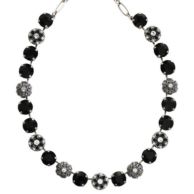 Mariana Checkmate Silver Plated Filigree Round Floral Statement Swarovski Crystal Necklace, 3204 280-1
