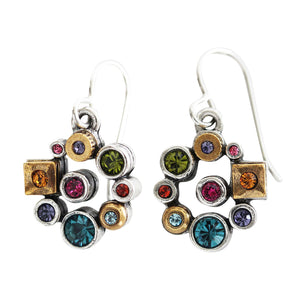 "Patricia Locke ""Maiden"" Sterling Silver Gold Plated Swarovski Crystal Mosaic Earrings, Multi Color Rainbow EF1097S Fling"
