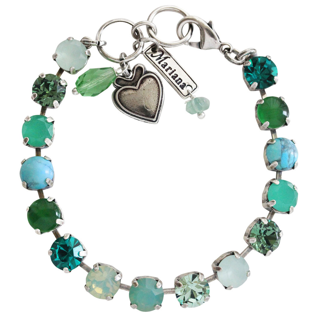 Mariana Congo Silver Plated Classic Shapes Green Pacific Blue Teal Swarovski Crystal Bracelet, 7