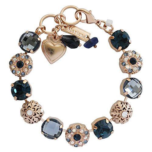 Mariana Mood Indigo Rose Gold Plated Filigree Floral Statement Swarovski Crystal Mosaic Bracelet, 7