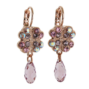 "Mariana ""Flamingo"" Rose Gold Plated Clover Dangle Swarovski Crystal Earrings, Pink 1040/3 319rg"