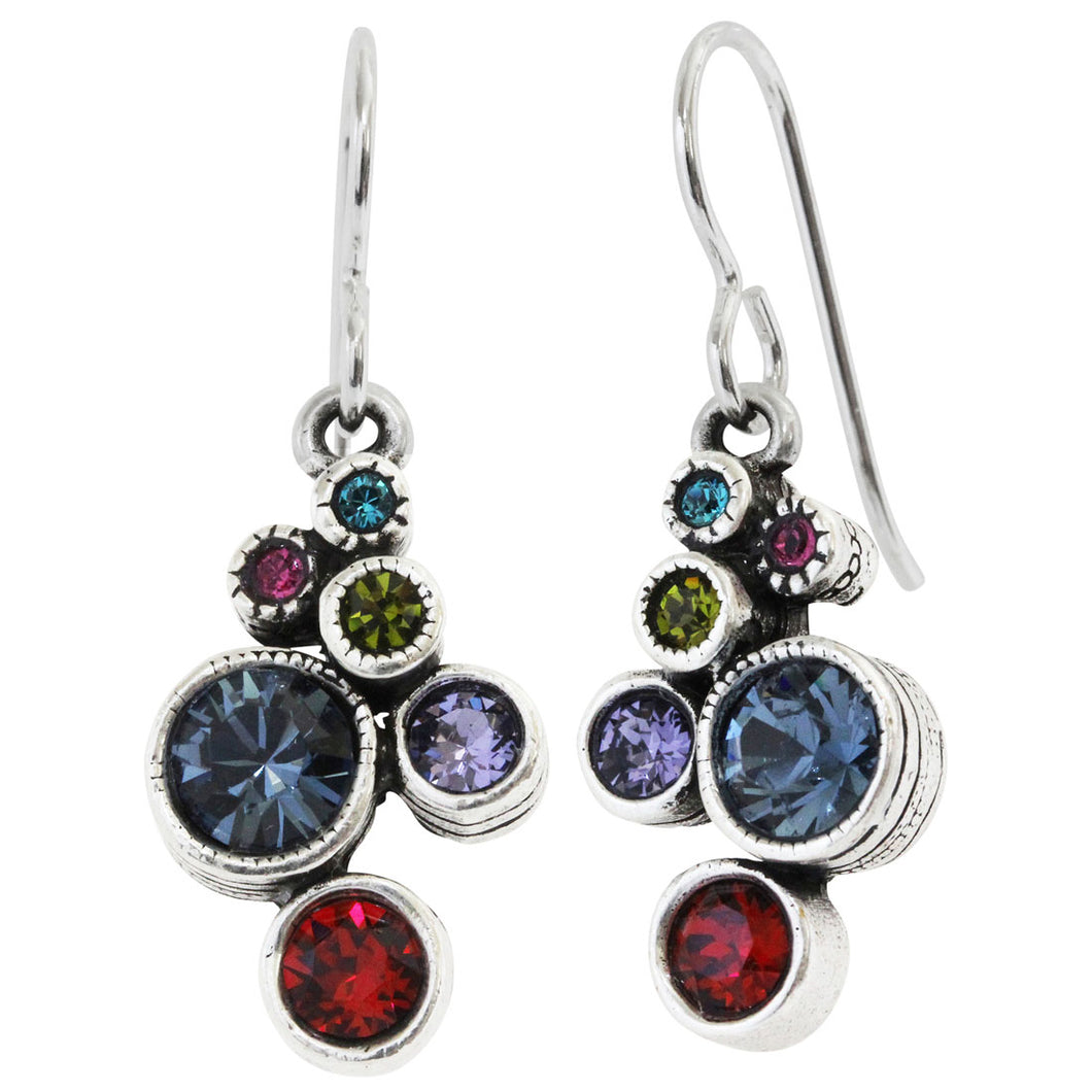 Patricia Locke Splash Sterling Silver Plated Swarovski Crystal Multi Color Mosaic Art Earrings, Celebration EF0685S