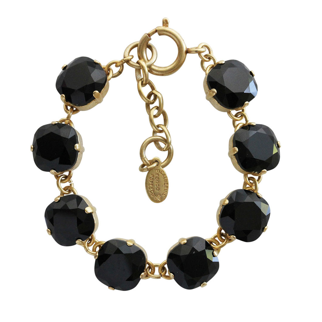 Catherine Popesco 14k Gold Plated Crystal Round Bracelet, 1696G Jet Black