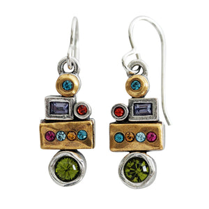 "Patricia Locke ""Girlfriends"" Sterling Silver Gold Plated Swarovski Crystal Mosaic Earrings, EF1096S Fling"