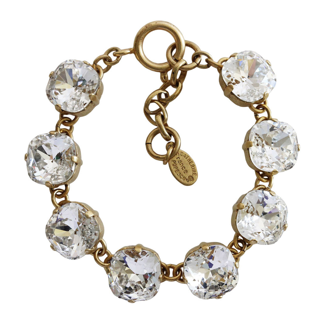 Catherine Popesco 14k Gold Plated Swarovski Crystal Round Bracelet, 1696G Clear